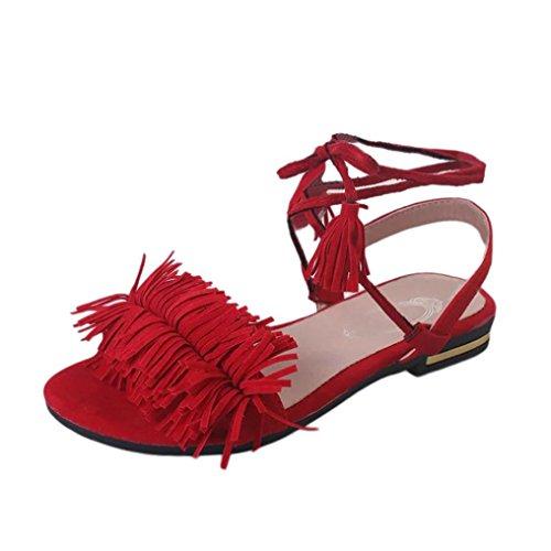 Sandalias para Mujer, RETUROM 2018 Las mujeres de la manera de la borla del talón plano antideslizante Beach Shoes Sandalias Slipper (37, rojo)