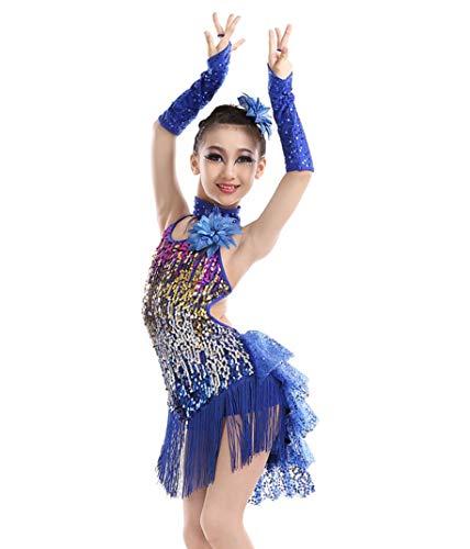 Kostüm Freestyle Dance - SMACO Kinder Latin Dance Kostüme Mädchen Pailletten Pailletten Quasten Kinder-Prüfung Wettbewerbe Tanz Performance-Kostüme,Blue,130CM
