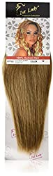 1st Lady Silky Straight Natural European Weft Human Hair Extension with Premium Blend Weave, Number 12, Caramel Brown, 10-Inch