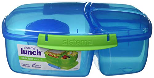 Sistema Lunch Triple Split Lunchbox mit Joghurttopf – 2 L, Blau