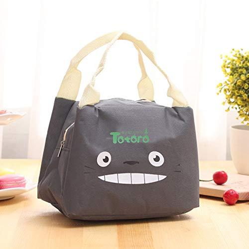 ZHAOLV Totoro Druck tragbare Picknicktasche Cartoon Ice Insulation Bag Auto Lunch Bag (Color : Dark Grey) (Serviette Totoro)