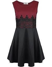 Be Jealous - Womens Sexy Ladies Sleeveless Waist Lace Flared Franki Skater Midi Dress UK Plus Size