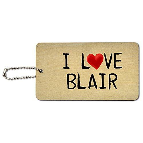 I love Blair geschrieben auf Papier Holz ID-Tag Gepäck-Koffer Handgepäck