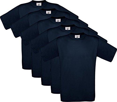 5er PACK T-Shirt mit kurzem Ärmel, Rundhalsbund. T-Shirt aus 100% ringgesponnener Baumwolle Navy