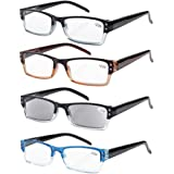 Eyekepper 4-pack Gafas sol de lectura rectangular con bisagras de resorte +2.00