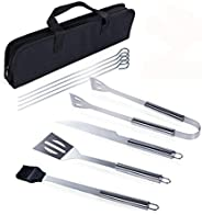 9Pcs BBQ Grill Tool Set Portable Stainless Steel Barbecue Accessories Outdoor Indoor for Camping Grilling Uten
