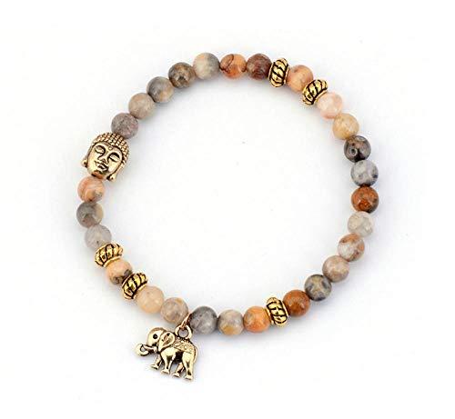 Magssdy Bracelet 6MM Pierre Naturelle Bouddha et Éléphant Perles Bracelets Bracelet Élastique Tibétain À La Main Amis Bracelet