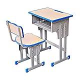 Set scrivania e sedia per studenti con cassetto portaoggetti, tavolo e sedia regolabili in altezza durevoli con struttura in acciaio, scrivania spessa, per studenti delle scuole che scrivono lettura