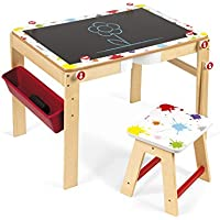 Janod J09609 Splash 2In1 Convertible Desk 2in1 Schreibtisch Holz (Wandelbar Als Tafel) mit Zubehör, mehrfarbig preisvergleich bei kinderzimmerdekopreise.eu