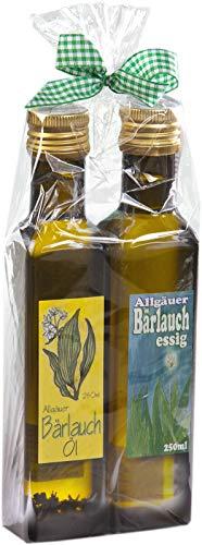 Geschenkset aus dem Allgäu | 250ml kräftiger Bärlauch-Essig | 250ml kräftiges Bärlauch-Öl | Liebevoll verpacktes Geschenkset (2x250ml)