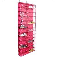 GYMNLJY Griglia di 26 borse di attaccatura di parete porta scarpa panno di deposito borse Oxford multistrato sospensione tipo , rose red