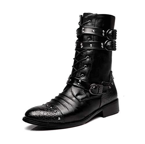 JIAHE Botas Martin para Hombre Zapatos con Tachuelas para Hombres Botas de Moda británica Punk Rock Metal Steam Shoes Botas de Vaquero Four Seasons, [Energy Grade A],39