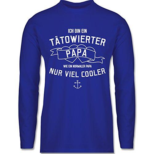 Shirtracer Vatertag - Ich Bin ein Tätowierter Papa - Herren Langarmshirt Royalblau