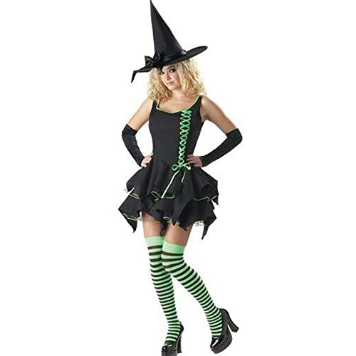 Kostüm Adult Hexe Gothic - Fashion-Cos1 Adult Halloween Hexe Kostüm für Frauen Gothic Hexe Kostüm schwarz Hexenhut Karneval Party Kostüm Outfit
