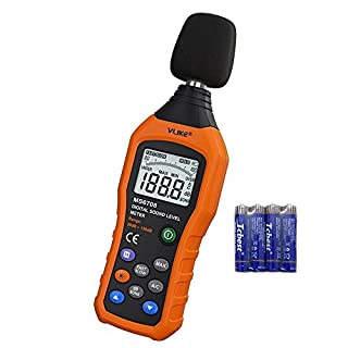 Decibel Meter,VLIKE LCD Digital Audio Noise Level Meter Sound Level Meter Monitor dB Meter Measuring 30 dB to 130 dB Tester with dbA and dBC Mode