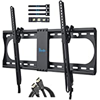 RENTLIV TV Wall Bracket for Most 37-70 Inch TV, Tilting TV Mount with MAX VESA 600x400mm, Loading Capacity up to 60 kg-Bonus Bubble Level, HDMI Cable, Cable Ties