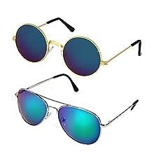 73253bc4f5 Xforia Mirrored Blue Round   Aviator Combo Sunglasses For Boys   Girls  (Pack ...
