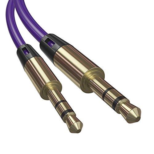 AUX Kabel 3,5 mm Stereo Audio Stecker Auto Kopfhörer MP3 Laptop Handy LetiStore - Rund Lila