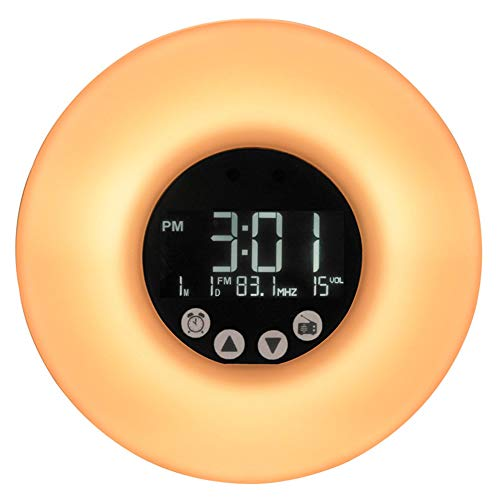 PANGOIE,Despertara Despertador Wake Up Light 7 Luces LED Colores Radio Sonidos Naturales