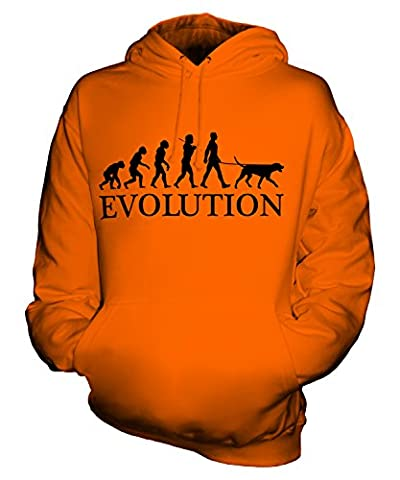 Candymix - Dalmatian Evolution Of Man - Unisex Hoodie Mens Ladies Hooded Sweater, Size Medium, Colour Orange