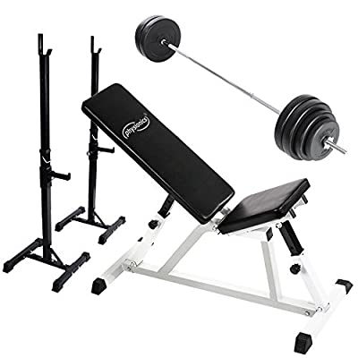 Physionics Weight Bench Multi-adjustable Seat/Backrest with Weight Rack and 60 kg Barbell Set from Physionics