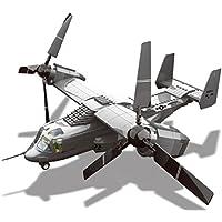 Maqueta de V22 Osprey. Modelo de aeronave polivalente para armar con bloques. Aeromodelismo 1:44