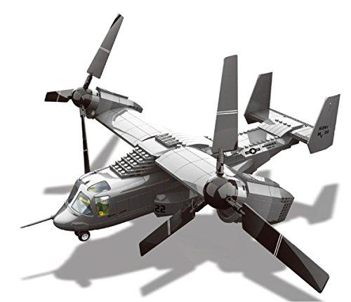 Wange modellino di v22 osprey. modello di aeronave polivalente da assemblare con blocchi. aeromodellismo 1:44.