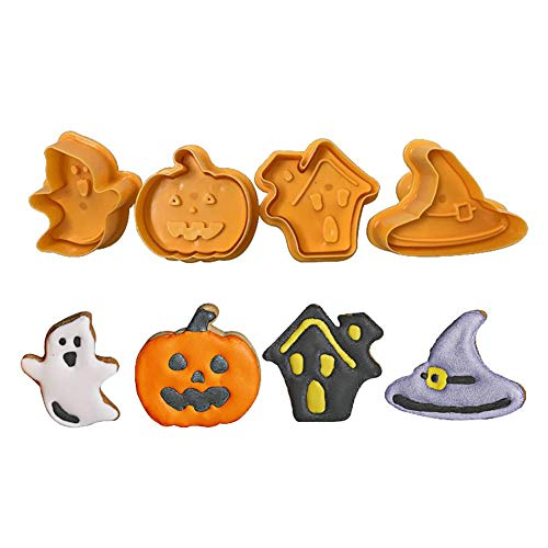 CAOLATOR. 4 Stück Edelstahl Ausstechform Halloween Pumpkin Ghost hat DIY Backen Plätzchen Schimmel Backen Kuchenform Plätzchenausstecher Kinder Muffinform für Tortendeko Fondant Dekoration