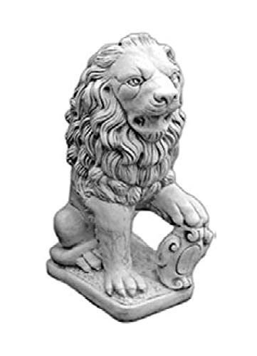 Defi Deko- und Figurenhandel Löwe sitzend Links blickend/weiß mit Schattierungen (H969), Tierfigur aus Steinguss, Höhe: 71 cm, Gewicht: 82 kg Defi Link