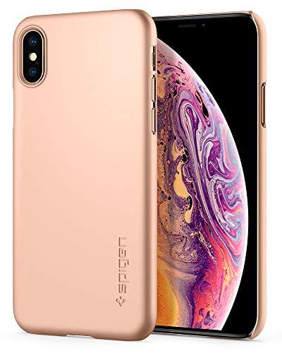 Spigen Thin Fit, iPhone XS Max Hülle, Slim PC Schale Hardcase Leichte Schutzhülle Schlank Elegant Handyhülle Case für iPhone XS Max (Gold) 065CS25350