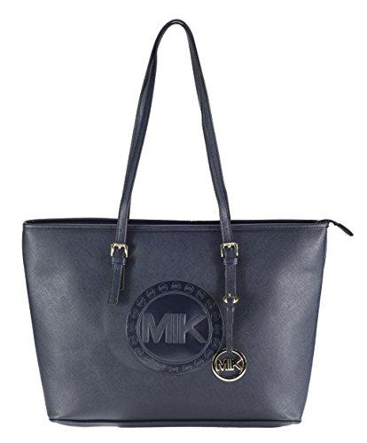 MIK Glamour Trendy Elegant Damen Schultertasche Handtasche PU-Ledertasche Grob (Blue)