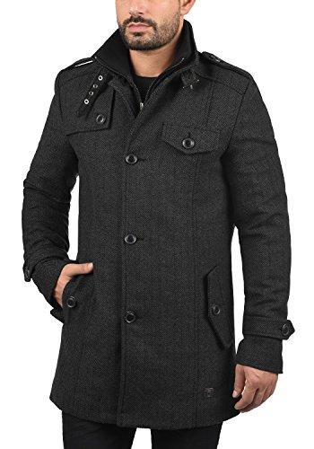 Indicode Brandan Herren Winter Mantel Wollmantel Lange Winterjacke mit Stehkragen, Größe:S, Farbe:Black (999) - 2