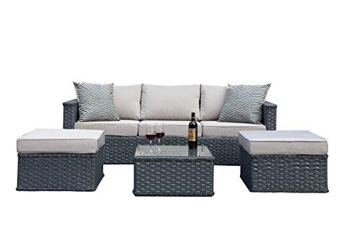Polyrattan Gartenmöbel 5-Sitzer-Rattan Outdoor Sitzgruppe Lounge Set Gartenganitur , 4tlg. Grau, Aluminiumgestell, fertig montiert