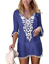 e8a3746973 SEBOWEL Womens Beach Cover Ups Kaftans Swimsuit Swimwear Blouse Beach Dress