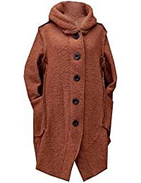 GG Ladies Womens Italian Lagenlook Quirky 5-Button Wool Long Hooded Coat Jacket