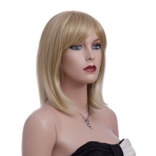 Kostüm Männer Kill Bill - SONGMICS Perücke, glattes und mittellanges Haar, stilvoll, Wig für Karneval, Cosplay und Halloween, weiblich, blond WFY136