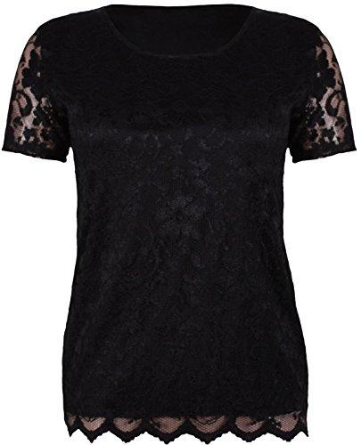 Generic Damen T-Shirt T-Shirt, Geblümt Schwarz - Schwarz