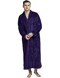 1b7288170a46d BaZhaHei Pyjama en Flanelle Femme Homme Chaud, Unisexe Couple Hiver Robe de  Chambre Douce Spencer Peignoir Chemise de Nuit…