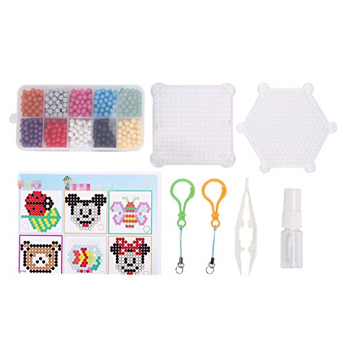 Fancyku Fuse Beads Educational Toys for Kids - 10 Colour Water Sticky Beads with Whole Set of Accessories, Colorful Magic Beading 0.18-0.2 inch (1100pcs), Creative Hand-Eye Coordination Learning Toys