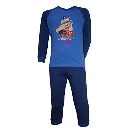 Schiesser - Jungen Schlafanzug Lang Captn Sharky, blau, Größe 104