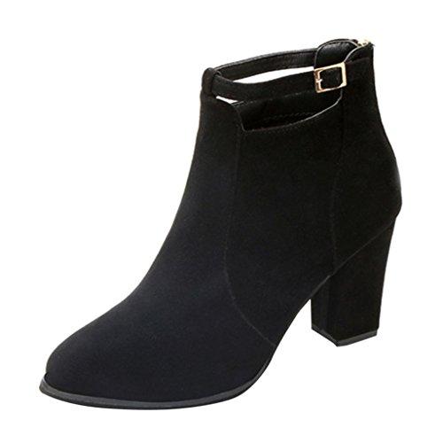 Stiefel damen Kolylong® Frauen Elegant Stiefeletten mit absatz Vintage Martin Stiefel Warm Ankle Boots Plateau Stiefel Kurz Schuhe High Heel Freizeit Schuhe (36, Schwarz) (Gefüttert Pelz Schuh Tasche)