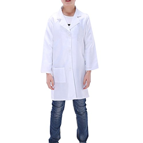 kittel Weiß Science Laborkleidung Kinderkittel Baumwolle Malermantel (128-140 / 8-10 Jahre(Etikett 140)) (Lab Coat Kostüm Kind)