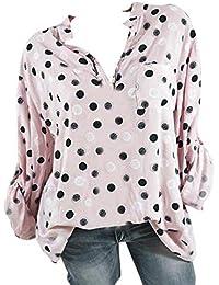 Guesspower T-Shirt Pois Imprimé Sexy Tee-Shirt Femme Top Chemise Chic Manches  Longues Lâche Haut de Loisir Blouse pour Femme Été… 9bde425be8d