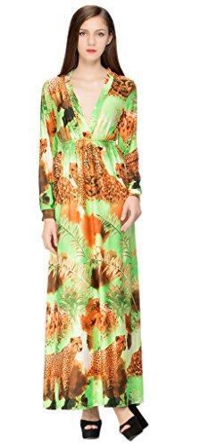 Bigood Robe de Cocktail Femme Soie Imité Col V Manches Longues Plage Soirée Cérémonie Casual Léopard