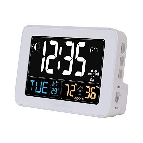 KIOio Reloj Despertador Inteligente, termómetro a Color, Reloj electrónico LCD de Pantalla Grande, Temperatura Interior y Humedad