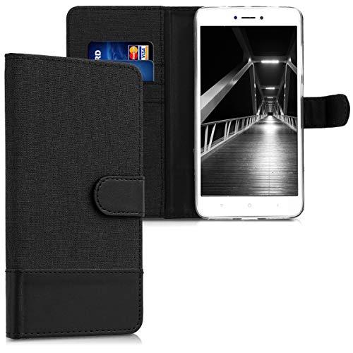kwmobile Funda para Xiaomi Redmi Note 4 / Note 4X - Carcasa de Tela y Cuero sintético - con Tapa y Tarjetero Antracita/Negro