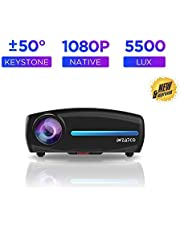 WZATCO S2 Native 1080P Full HD LED Projector, 5500 Lumens 4D Correction Home Cinema (Black)