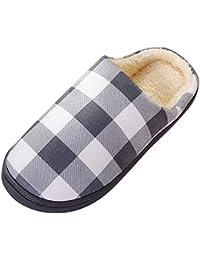 91a9e8c3ce75d Magiyard Hommes Chaud Plaid Accueil Peluche Chaussons Doux À l intérieur  Antidérapant Chaussures ...