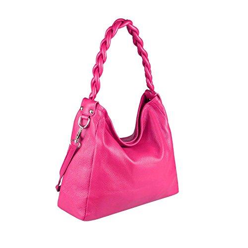 OBC Made in Italy echt Leder Vera Pelle Shopper Beuteltasche Henkeltasche Umhängetasche Tasche Beuteltasche Schultertasche 40x28x11 cm Pink