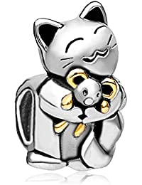Pugster Smiling Cat Hugging Mouse Charms New Sale Cheap Beads fit Pandora Chamilia Bracelet Gifts